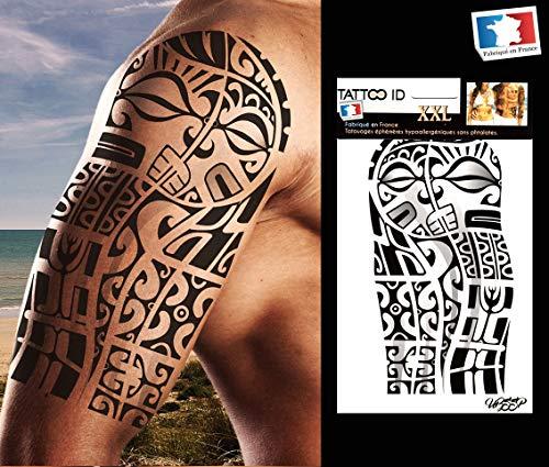 Tattoo ID - Tatuaggio tribale marchesiano/Maori, temporaneo, ipoallergenico, 1 foglio formato XXL, 22 x 14,5 cm, prodotto in Francia, unisex