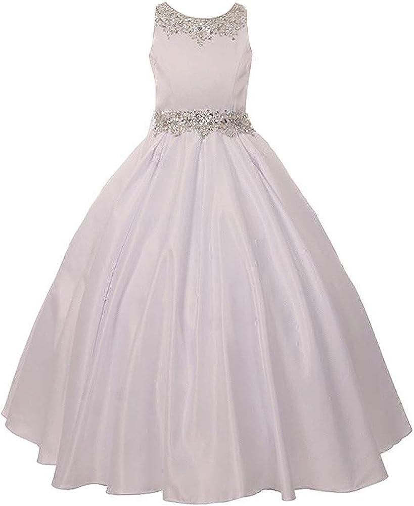 CrunchyCucumber Shimmering Beading Neckline Waistline Corset Back Girl Dress