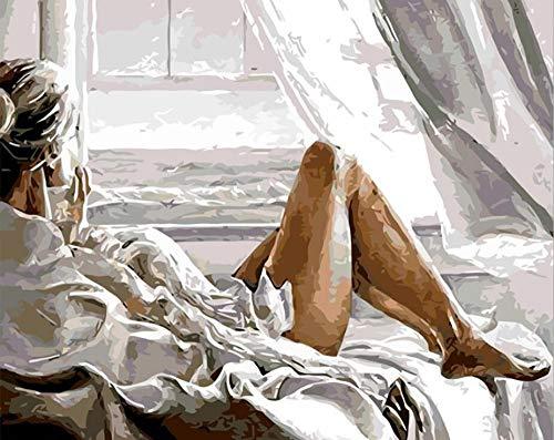 SKYZAHX Malen Nach Zahlen Schönheit vor dem Fenster Erwachsene Kinder, DIY Handgemalt Ölgemälde auf Leinwand Geschenk Malen Nach Zahlen Kits Home Haus Dekor - Ohne Rahmen 40 * 50 cm