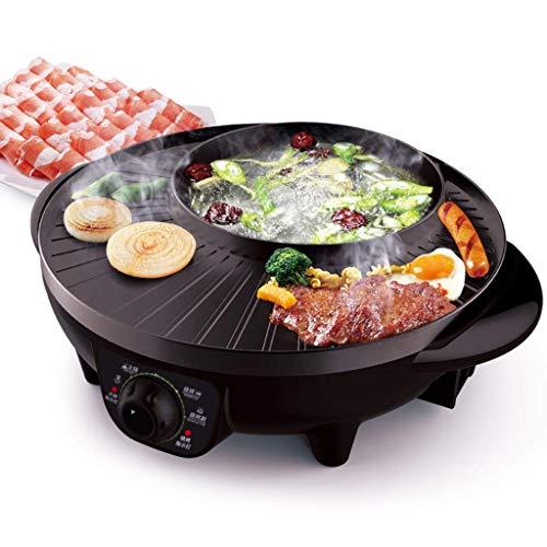 Électrique Hot Pot Hot Pot Pot Maison Multi-Fonction Électrique Cuisinière Multi-usages Pot Barbecue Hot Pot Intégré Grill 2-4 Personnes sans Fumée Anti-adhésif