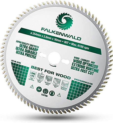 FALKENWALD ® Sägeblatt 254x30 für Holz - Feiner Schnitt durch 80 HM Zähne - Kompatibel mit Bosch GTS 10 XC, PTS 10 Tischkreissäge & Metabo Kappsäge KGS 254 M - Kreissägeblatt 254 x 30