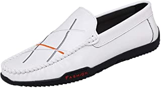 Driving Loafer For Men Boat Moccasins Slip On Style Microfiber Leather Embroidery Upper Comfy Rhythm Toe casual shoes (Color : White, Size : 40 EU)