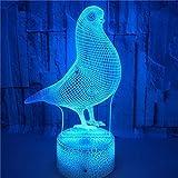 FREEZG lamparitas de noche dormitorio Paloma animal niño lámpara de noche con ilusión óptica de 7 colores que cambia con control remoto luz de noche visual LED para regalos de cumpleaños para niños