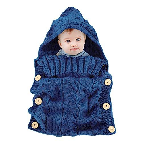 Colorful Newborn Baby Wrap Swaddle Blanket, Oenbopo Baby Kids Toddler Knit Blanket Swaddle Sleeping Bag Sleep Sack Stroller Wrap for 0-12 Month Baby (70cm (L)*39cm(W), Blue