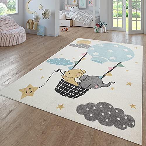TT Home - Alfombra infantil (133 x 190 cm), diseño de elefante, oso y luna, color beige