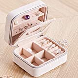 XINYIN-SZ Jewellery Box Organiser Small Travel PU Leather Jewelry Storage Case for Rings Earrings Necklace Bracelets Faux Leather Jewelry Gift Box Girls Women (White)