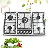 34 Inches Stainless Steel Built-in Gas Cooktop Kitchen Cooktop with Stainless Steel Surface and Cast Iron Grates 4 Burners Gas Stove Countertop Gas Hob 4 Burner Cooktops Gas Cooker for Griddle, Pan