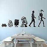 Modeganqingg Evolution Droide Set Art Vinyl Wall Sticker Restaurante Decoración de la Pared Mural Habitación Creativa para niños DIY Wall Decal Desmontable Negro L 142cm x 56cm