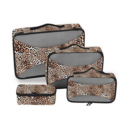 QMIN Juego de 4 cubos de embalaje de viaje con estampado de piel de leopardo de animales, bolsas de malla organizadoras de equipaje, bolsas de almacenamiento para maleta de viaje mochilas