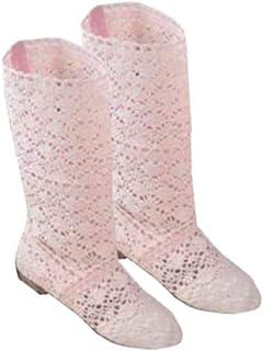 12f4ce7a305 Botas de Mujer para Vestido Zapatos Botas de Encaje Hueco Crochet Hollow  out Tacones Planos Gruesos
