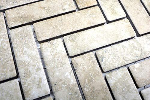 Mozaïek tegel keramiek visgraat steen-look beige tegelspiegel keuken MOS24-SO76_m
