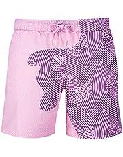 RZKJ Zwembroek met wisselende kleuren voor heren, gevoelige strandbroek, zwembroek, shorts, kleurveranderende strandshorts, zomer, surf, strandbroek