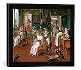 Kunst für Alle '–Fotografía enmarcada de Abraham Teniers Barbier Stube con Monos y Gatos, de impresión handgefertigten imágenes de Marco, 40x 30cm, Color Negro Mate