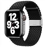 youmaofa Compatible con Correa Apple Watch 42mm 44mm, Ajustable Trenzada Estirable EláStico Deportiva Repuesto Correa con Hebilla para Iwatch Se/Series 6 5 4 3 2 1, Negro