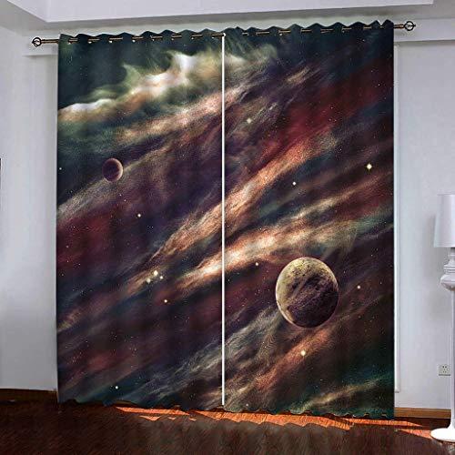 Hailongdia Vorhang Super Soft Blackout Moderner Kreativer Dunkler Planet Im Weltraum 3D Schwarzer Seidenstoff...