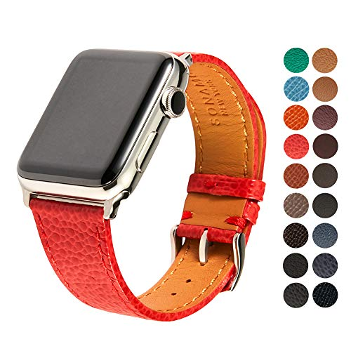 Compatible Apple Watch Band, Premium Italian Cavier Leather Strap with Stainless Steel Buckle for All 42mm Apple Watch Models by SONAMU New York, Scarlet