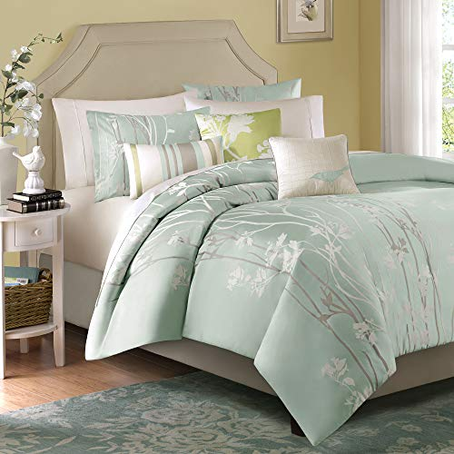 Madison Park Athena Queen Size Bed Comforter Set Bed in A Bag - Seafoam Green, Floral Jacquard – 7 Pieces Bedding Sets – Ultra Soft Microfiber Bedroom Comforters (MP10-001)