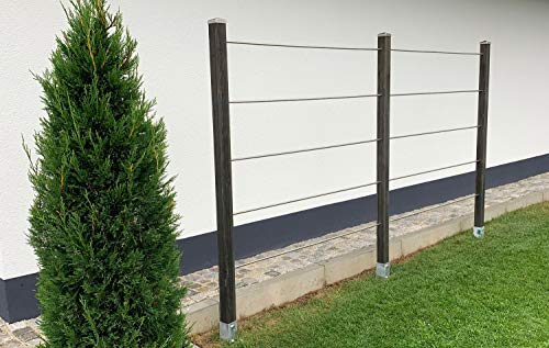 Rankmanufaktur Design Rankhilfe Rankgitter Holz Aluminium inklusive Befestigungsset (Doppelelement, kesseldruckimprägniert)