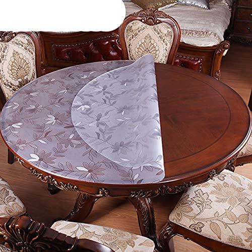 Mantel redondo transparente PVC mantel impermeable cocina patrón aceite tabla cubierta de vidrio paño suave cubierta de la mesa-margarita, diámetro 35cm, China