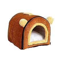 ペットハウス2-in-1、ポータブルウォッシャブルソファペット猫または犬のイグルーベッド用の柔らかく快適な家ソフトカシミア暖かいペットの巣、取り外し可能で折りたたみ可能な猫のトイレ-Brown  X-Large