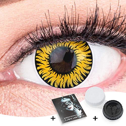Farbige Gelbe Kontaktlinsen Anime Werewolf Yellow Circle Lenses Ohne Stärke Heroes Of Cosplay Stark Deckend Intensive Farben mit gratis Kontaktlinsenbehälter farbig für Halloween Fasching