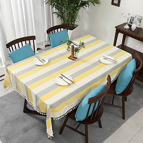 Uhgkt Manteles Cubierta de Mesa de Comedor Rectangular Decorativa a Rayas Pano de Mesa de Comedor de Color solido Decoracion para el hogar