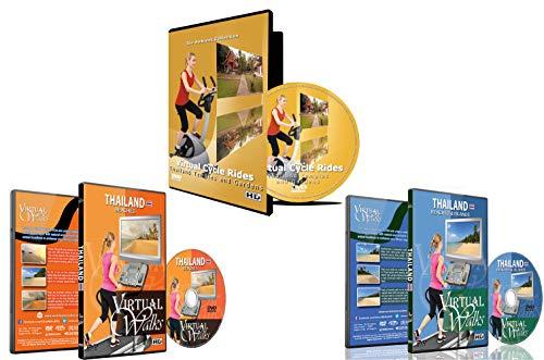 3 Disc Set Kombi Pack - Das Beste aus Thailand Virtuelle Walks und Cycling DVD Box Set für Laufband, Elliptical Trainer und Spinning Bike Workouts