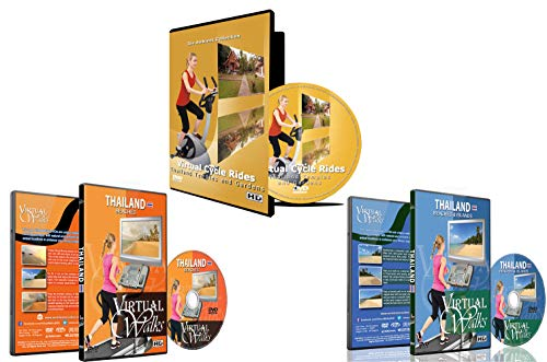 3 Disc Set Combo Pack - Best of Thailand Virtual Walks and Cycling DVD Box Set for Treadmill, Elliptical Trainers and Spin Bikes Workouts