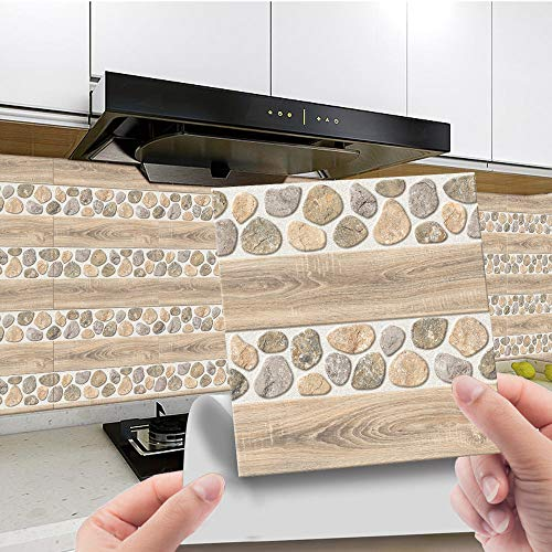 Hiser 20 Piezas Adhesivos Decorativos para Azulejos Pegatinas para Baldosas del Baño/Cocina Ladrillo de Piedra de simulación 3D Resistente al Agua Pegatina de Pared (Rocas de tablones,20x20cm)