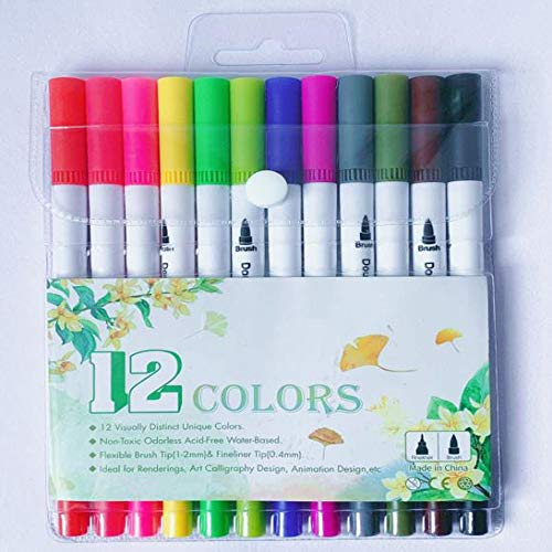 12 Packs Dual Tip Colored Pens Brush and Fine Tip Pens Double Head Ended Colorful Drawing Pens Art Pens Felt Tip Coloring Writing Painting Lettering Markers (12 Assorted Colors)
