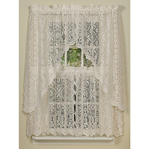"Hopewell Lace Kitchen Curtain - 36"" tier (pr) - CREAM"
