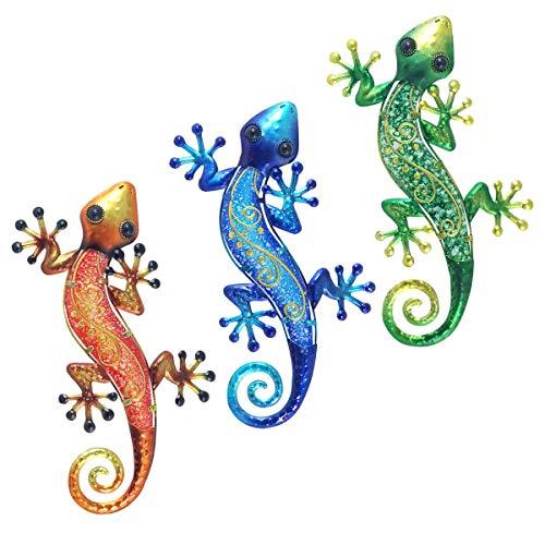 CAPRILO. Set de 3 Apliques Pared Decorativos de Metal y Cristal Lagartos Multicolor. Cuadros y Adornos. Decoración Hogar. Jardín. Animales. Regalos Originales. 37 x 18,50 x 1,50 cm.