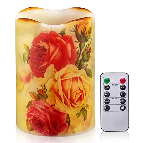 Flameless Candle Flickering Rustic Roses Battery Operated LED Candle Real Wax Pillar with Remote Timer, Home Decor Dripless Flower Candle
