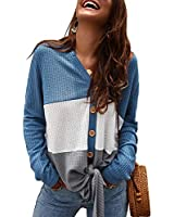 Womens Waffle Knit Tunic Blouse Tie Knot Henley Tops Loose Fitting Color Block Long Sleeve Shirts (Blue, XL)