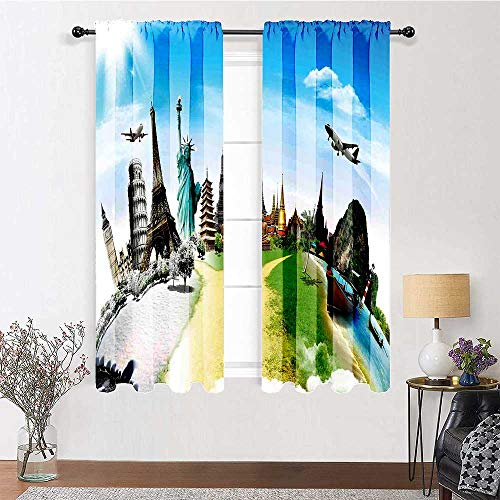 Adorise Living Room Curtain Airplane Flight Over Monuments and Wonders of The World Eiffel Thailand Image Blackout Window Treatment for Living, Dining, Bedroom (W31.5 Inch by L72 Inch, 2 Panels)