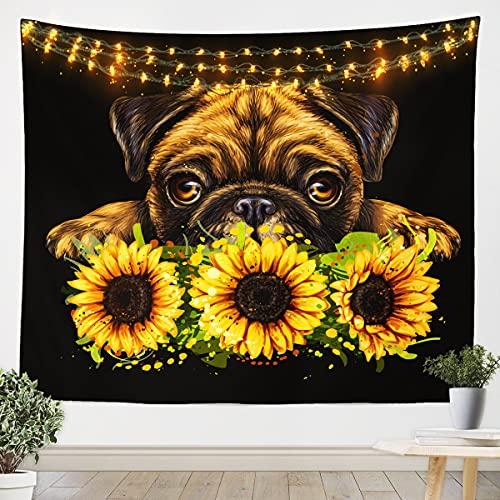 Loussiesd Manta de pared para perros de girasol, para colgar en la pared, diseño floral de animales para adolescentes, ultra suave, bonito cachorro, manta para habitación grande, 58 x 79 arte de pared