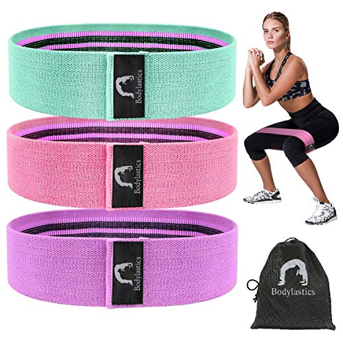 Bodylastics Resistance Hip Loop Bands for Legs, Butt, Thighs & Glutes Exercises, Anti-Slip Fabric Workout Bands for Men/Women