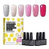 Lagunamoon Smalto in Gel UV LED, 6pcs Smalto Semipermanente per Unghie Set per Manicure - Pink and bling