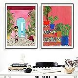 FFLSDR Stampe su Tela astratta Cartagena Life Picture Wall Mream Poster Stile Moderno Pittura Art Aisle Living Room Decor-40x50cmx2 Frameless