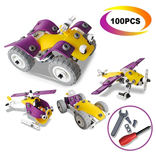 4 in 1 Building Toys Set - CARLORBO Assembled Puzzle Toys Model Cars Aircraft Motorcycle,Gift Idea Kids Toys for 5 year old Boys Girls(100PCS)