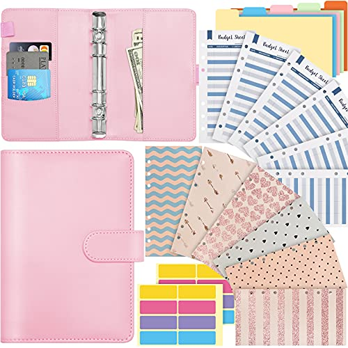 20 Pcs A6 PU Leather Notebook Binder, 6 Ring Budget Binder with Colorful Waterproof Budget Cash Envelopes Expense Budget Sheets, Colorful Separator, 1 Piece Label Strickers (Pink)