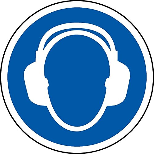 International ISO Gehörschutz Erforderliche Symbol Sicherheitszeichen - Selbstklebende Aufkleber 100mm Durchmesser