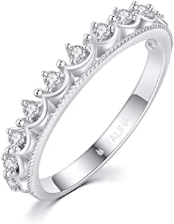 Qifumaer 1 bague r/églable en argent sterling pour femme Bague ouverte mariage pour femme Plaqu/é fantaisie Bague brillante couronne diamant brillant pour femme Bijoux pour femme Or rose