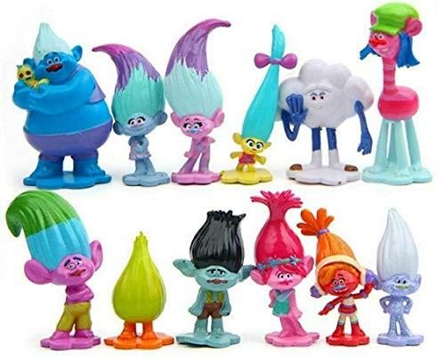 Juego de 12 piezas de decoración para tartas de trolls, figuras de acción mini trolls, decoración para tartas de cumpleaños, decoración para niños, figuras de acción de PVC