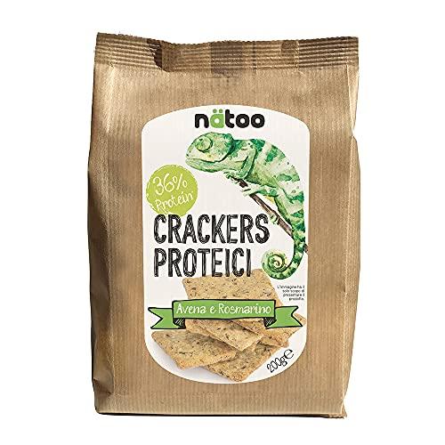 NATOO Crackers proteici - 2 confezioni da 200gr. - Con farina d avena - Vegan - Pochi zuccheri (Avena e rosmarino)