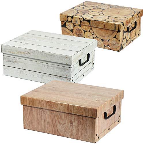 com-four® 3X Caja de ordenacion en de Madera - Caja de decoración para almacenar Documentos, revistas y más - Caja Decorativa (3 Piezas - Mezcla de Motivos)