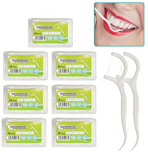Zahnseide Stick (350 Stück), mit Tragbarem Reiseetui und Zahnstocher, für Zahnreinigung Zwischenräume, Zahnpflege