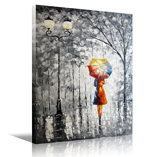 HD Art Framed Oil Painting Prints On Canvas,Lady Canvas Wall Art Under the Umbrella Living Room Bedroom Decorations Wall Decor Stretched Ready to Hang 12x16inch(30x40cm)1pc