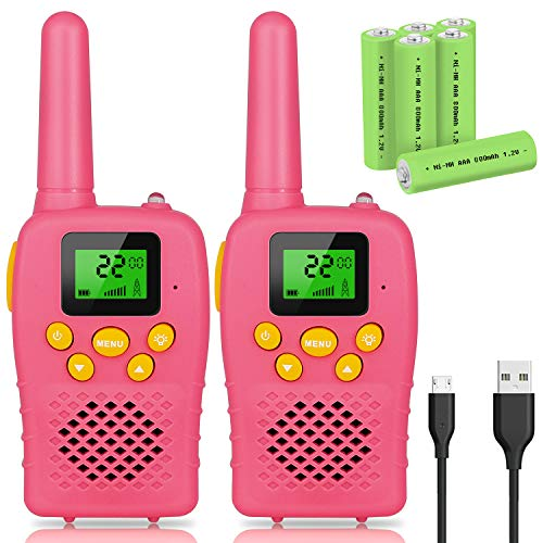 E-WOR Walkie Talkies for Kids Rechargeable, 2019 Model Best Gifts Top Toys for Boys and Girls 3-12 Year Old Kids, 4 Miles Range 22 Channels 2 Way Radios with Flashlight and LCD Screen - Gift Box