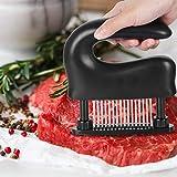 肉たたき Imoker ミートテンダライザー 48刃 肉筋切り器 ステンレス製 キッチン用品 洗浄用ブラシ付き お肉が柔らかくなる ブラック ホワイト (ブラック)